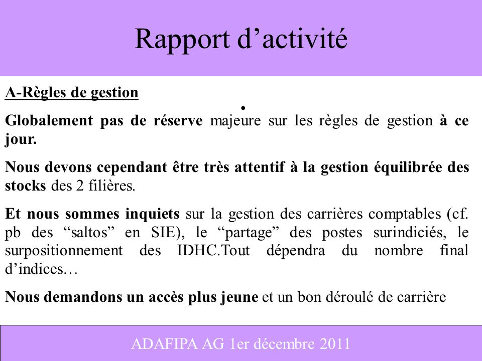 Rapport d'activité A-Règles de gestion