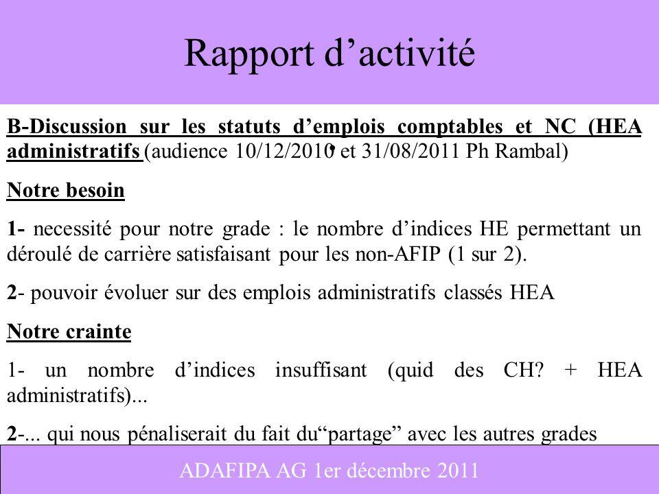 Rapport d'activité B-Discussion sur les statuts d'emplois comptables et NC (HEA administratifs (audience 10/12/2010 et 31/08/2011 Ph Rambal)