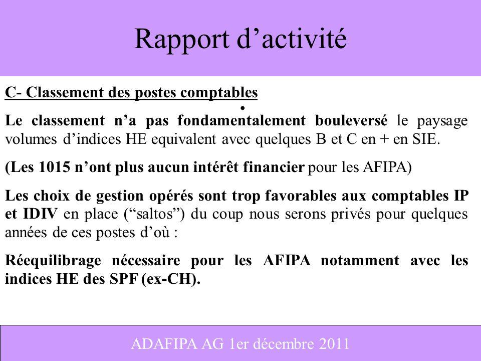 Rapport d'activité C- Classement des postes comptables