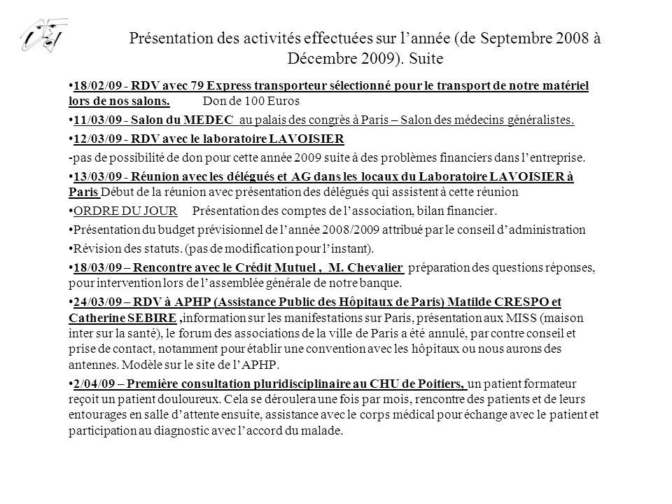 Présentation des activités effectuées sur l'année (de Septembre 2008 à Décembre 2009). Suite