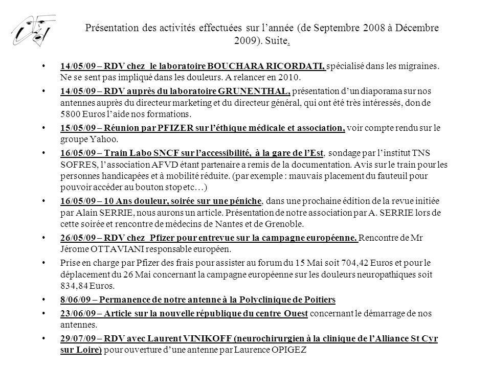 Présentation des activités effectuées sur l'année (de Septembre 2008 à Décembre 2009). Suite.