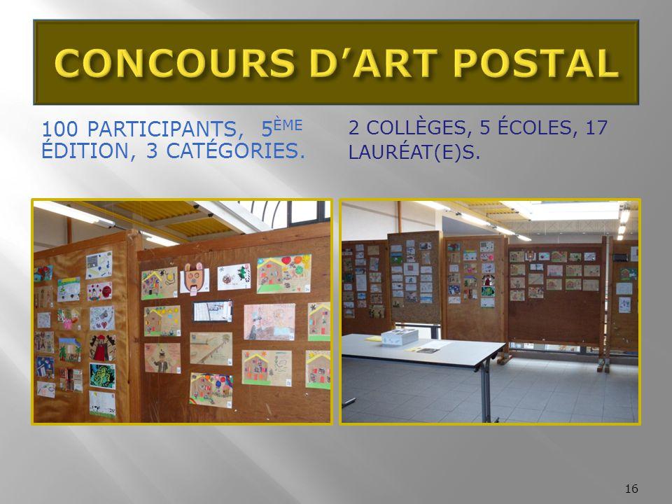 CONCOURS D'ART POSTAL 100 participants, 5ème édition, 3 Catégories.