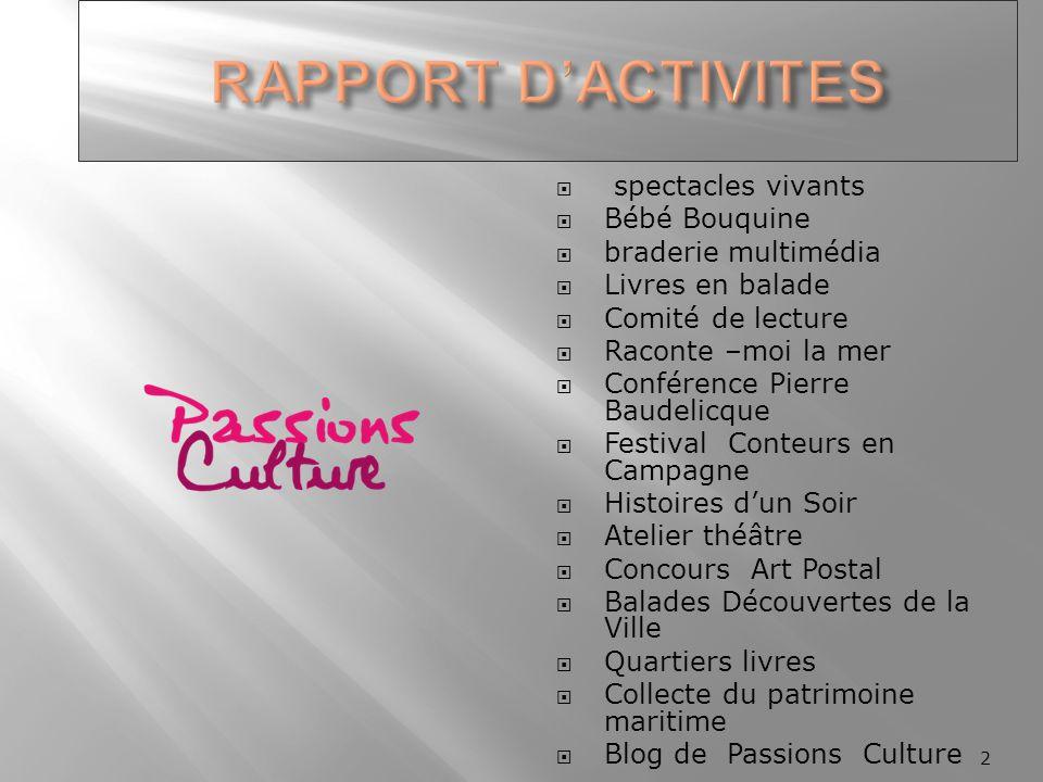 RAPPORT D'ACTIVITES spectacles vivants Bébé Bouquine