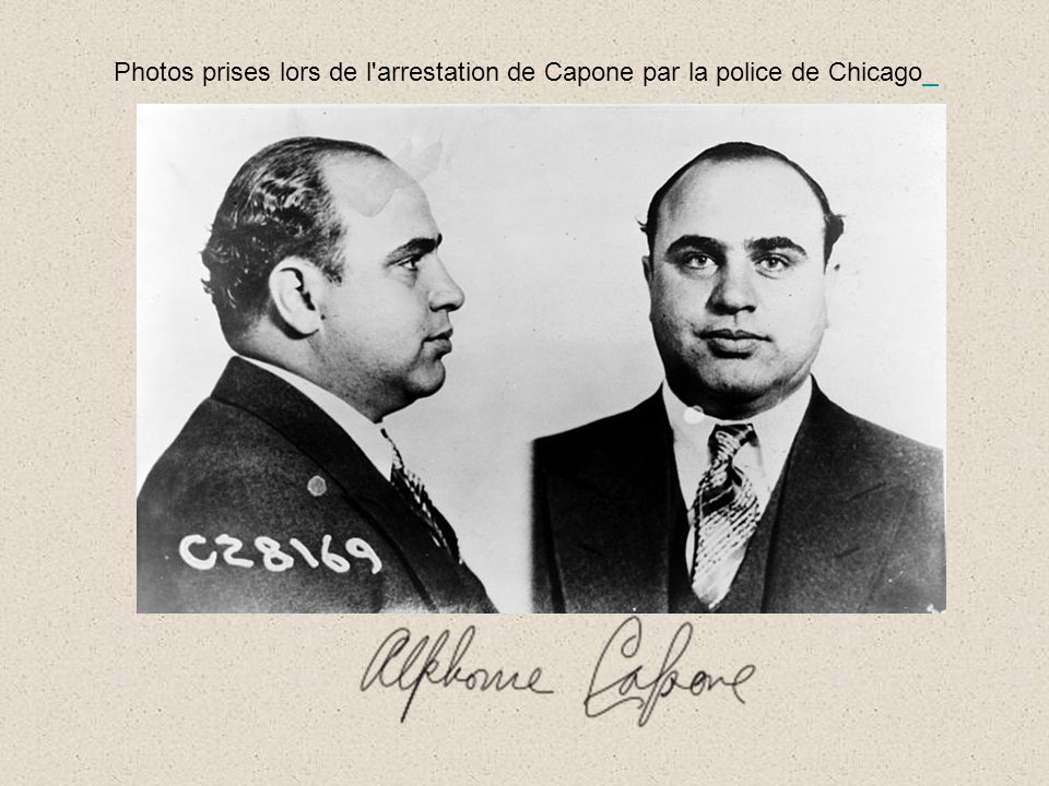 Photos prises lors de l arrestation de Capone par la police de Chicago