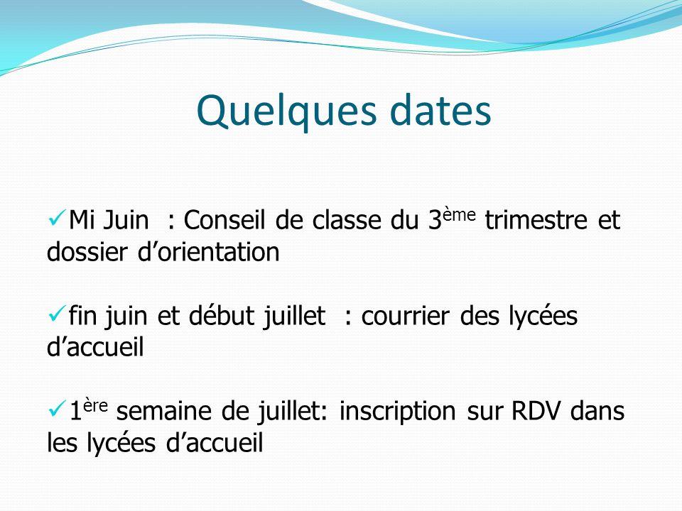 Quelques dates Mi Juin : Conseil de classe du 3ème trimestre et dossier d'orientation. fin juin et début juillet : courrier des lycées d'accueil.