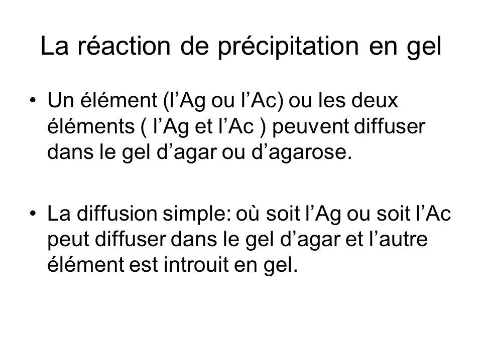 La réaction de précipitation en gel