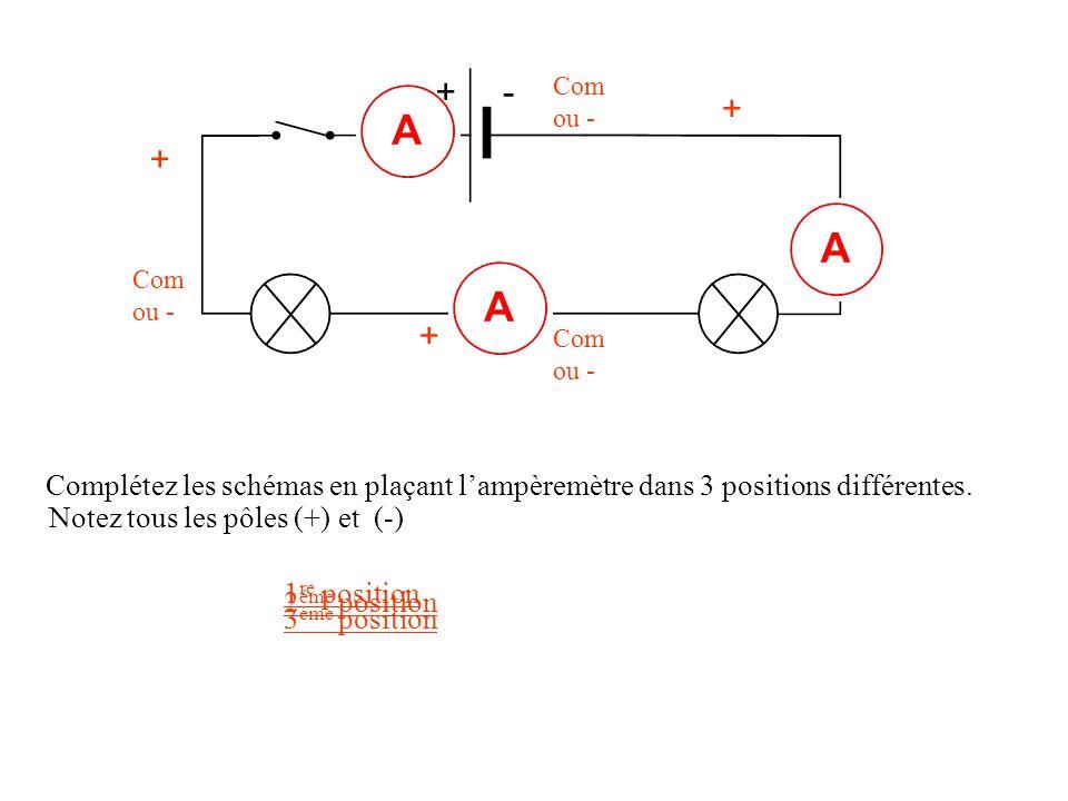 + - Com ou - + + Com ou - + Com ou - Complétez les schémas en plaçant l'ampèremètre dans 3 positions différentes.