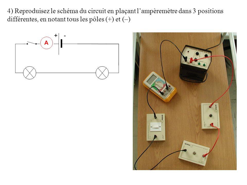 4) Reproduisez le schéma du circuit en plaçant l'ampèremètre dans 3 positions différentes, en notant tous les pôles (+) et (–)