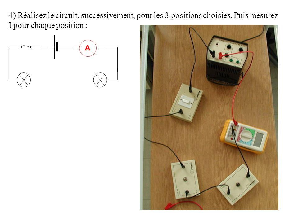 4) Réalisez le circuit, successivement, pour les 3 positions choisies