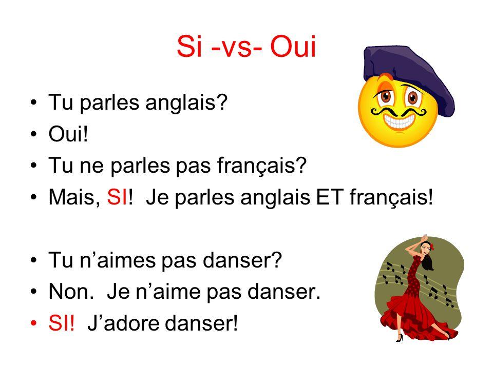 Si -vs- Oui Tu parles anglais Oui! Tu ne parles pas français