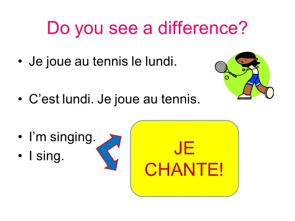 Do you see a difference JE CHANTE! Je joue au tennis le lundi.