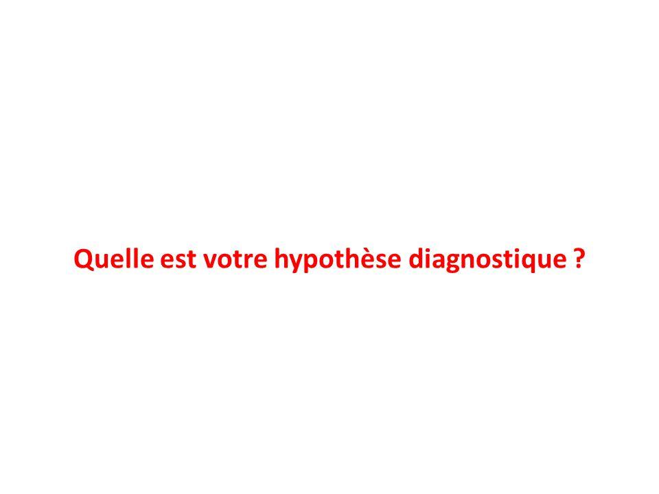 Quelle est votre hypothèse diagnostique