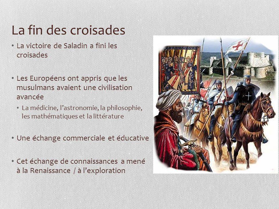 La fin des croisades La victoire de Saladin a fini les croisades