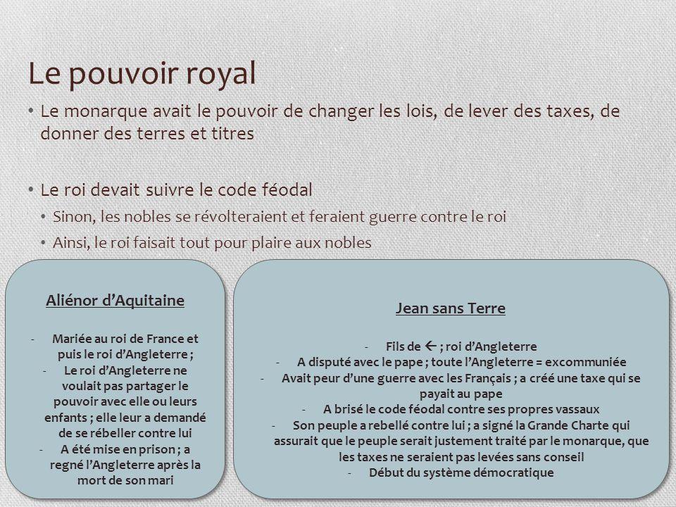 Le pouvoir royal Le monarque avait le pouvoir de changer les lois, de lever des taxes, de donner des terres et titres.