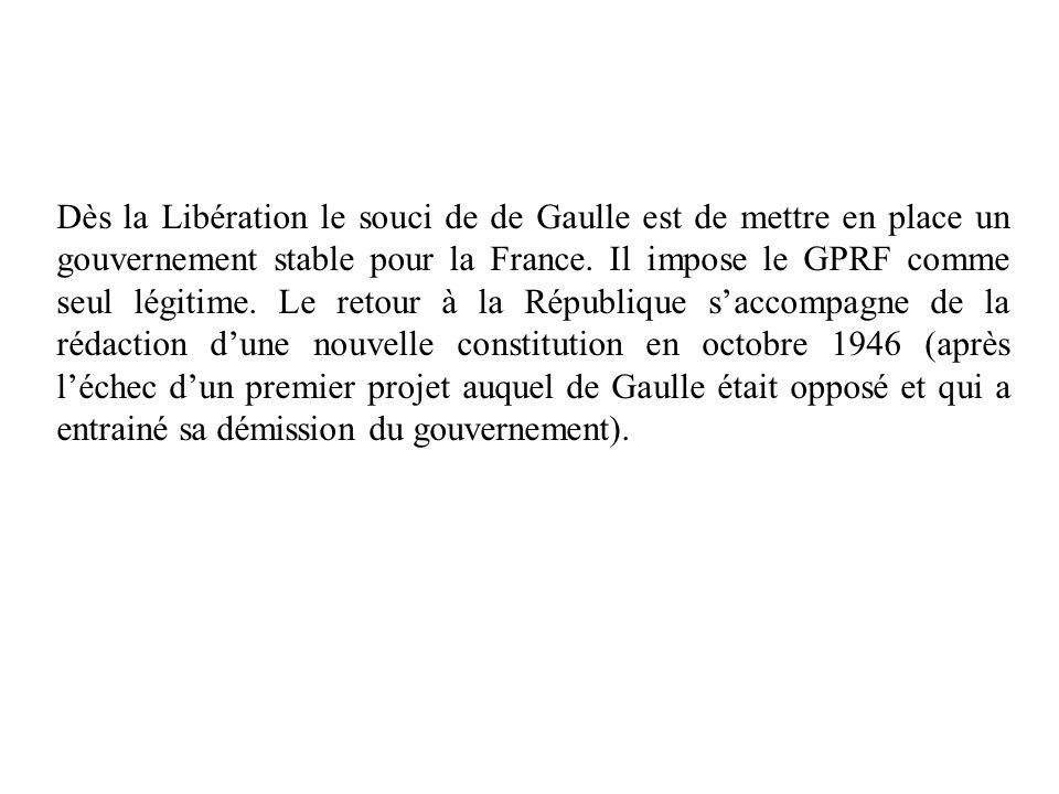 Dès la Libération le souci de de Gaulle est de mettre en place un gouvernement stable pour la France.