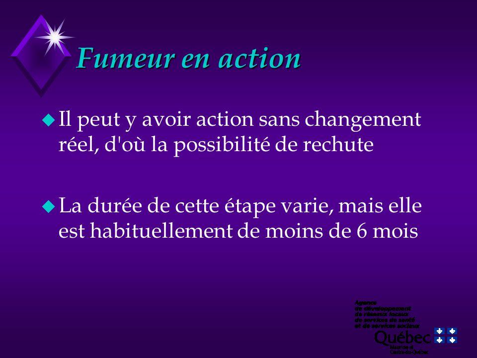 Fumeur en action Il peut y avoir action sans changement réel, d où la possibilité de rechute.