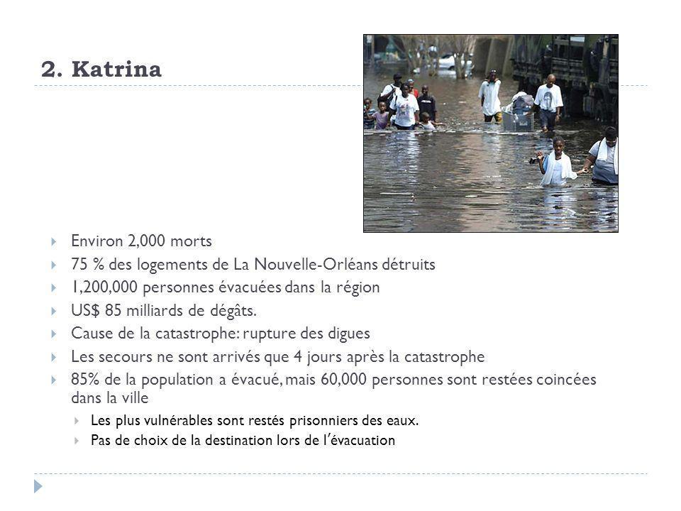 2. Katrina Environ 2,000 morts. 75 % des logements de La Nouvelle-Orléans détruits. 1,200,000 personnes évacuées dans la région.