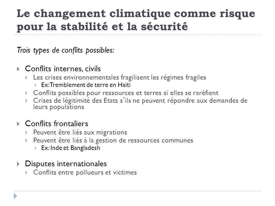 Le changement climatique comme risque pour la stabilité et la sécurité