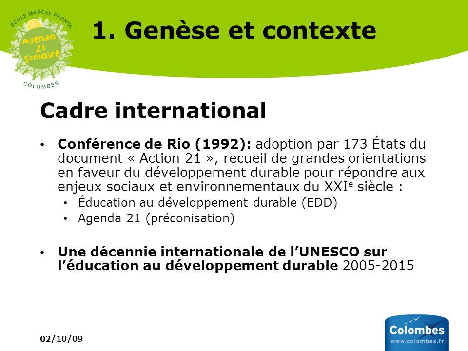 1. Genèse et contexte Cadre international