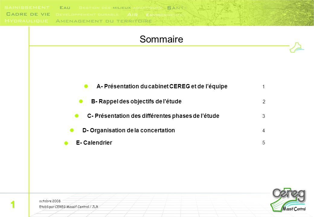 Sommaire 1 A- Présentation du cabinet CEREG et de l'équipe