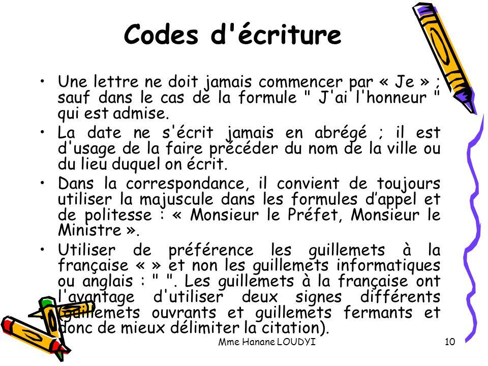 Codes d écriture Une lettre ne doit jamais commencer par « Je » ; sauf dans le cas de la formule J ai l honneur qui est admise.