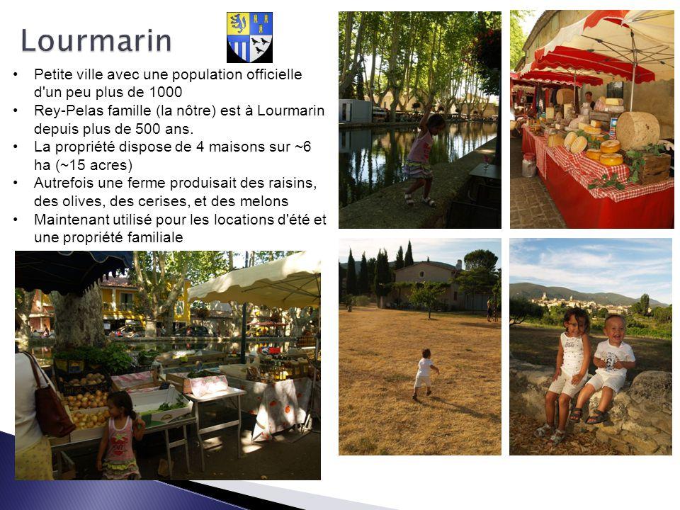 Lourmarin Petite ville avec une population officielle d un peu plus de 1000. Rey-Pelas famille (la nôtre) est à Lourmarin depuis plus de 500 ans.
