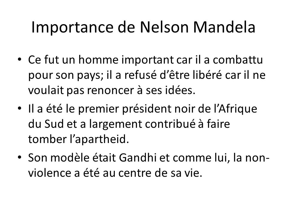 Importance de Nelson Mandela