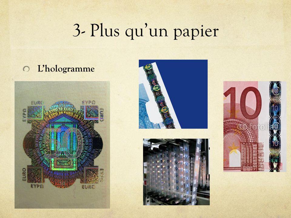 3- Plus qu'un papier L'hologramme