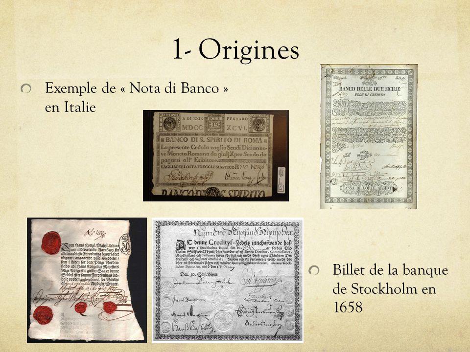 1- Origines Exemple de « Nota di Banco » en Italie