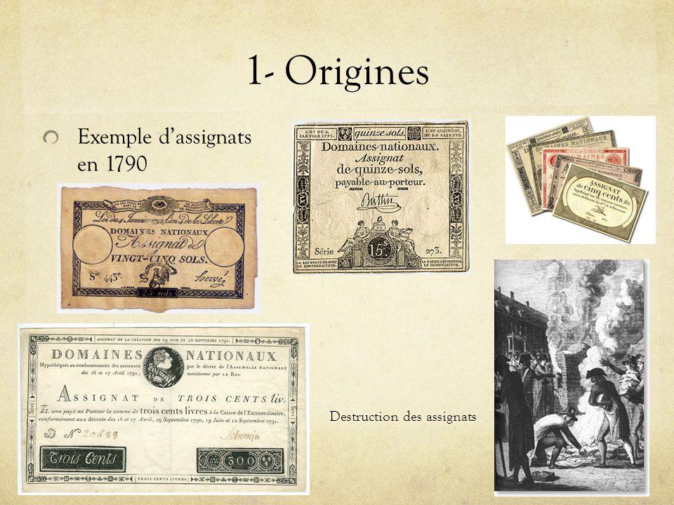 1- Origines Exemple d'assignats en 1790 Destruction des assignats