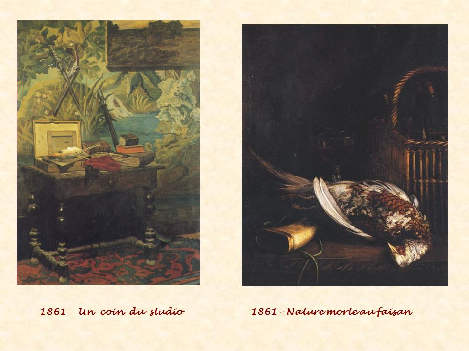 1861 - Un coin du studio 1861 – Nature morte au faisan