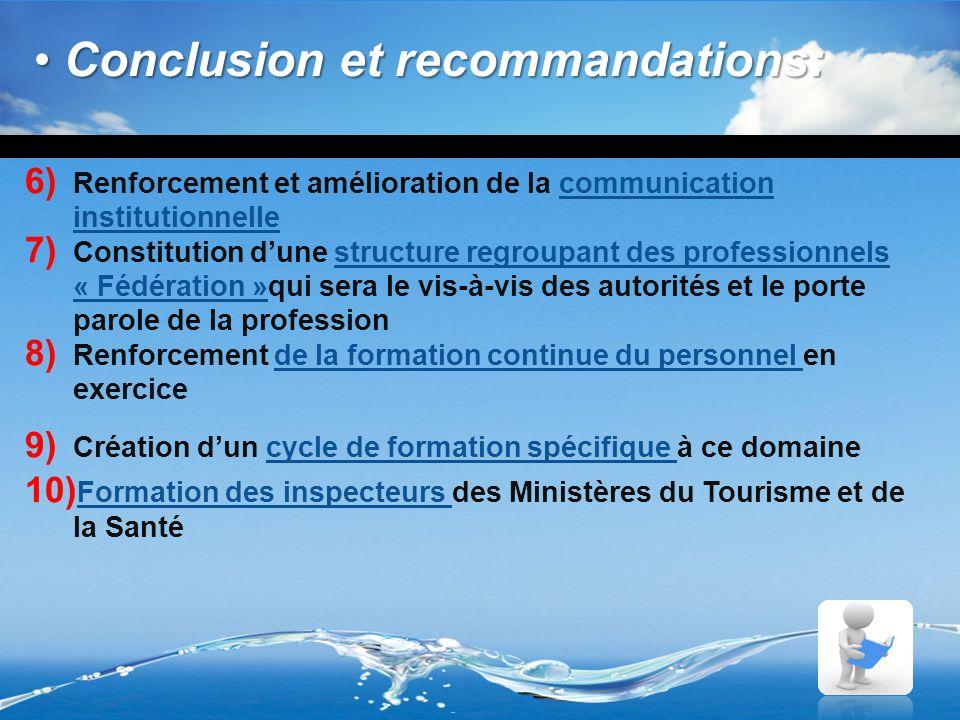 Conclusion et recommandations: