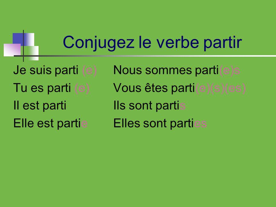 Conjugez le verbe partir