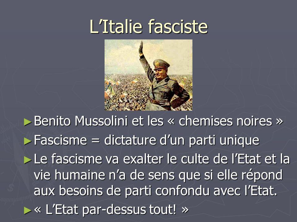 L'Italie fasciste Benito Mussolini et les « chemises noires »
