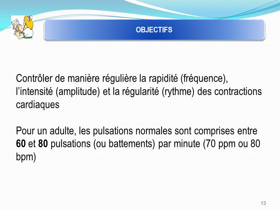 OBJECTIFS Contrôler de manière régulière la rapidité (fréquence), l'intensité (amplitude) et la régularité (rythme) des contractions cardiaques.