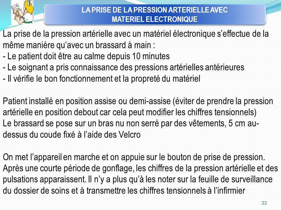 LA PRISE DE LA PRESSION ARTERIELLE AVEC MATERIEL ELECTRONIQUE