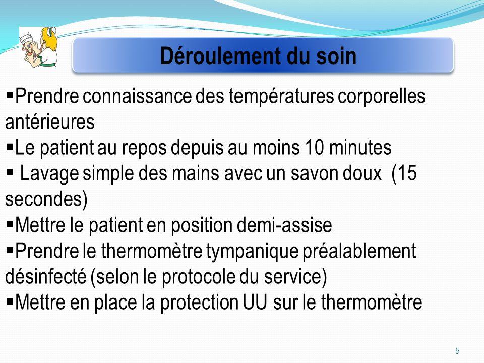 Déroulement du soin Prendre connaissance des températures corporelles antérieures. Le patient au repos depuis au moins 10 minutes.