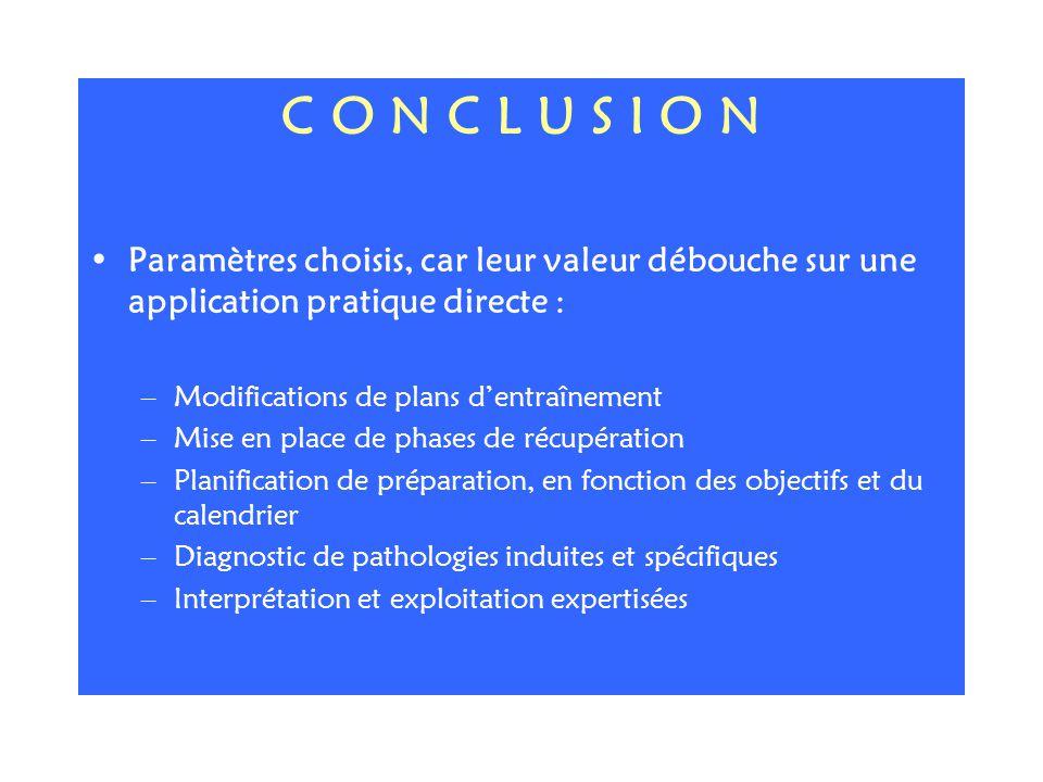 C O N C L U S I O N Paramètres choisis, car leur valeur débouche sur une application pratique directe :