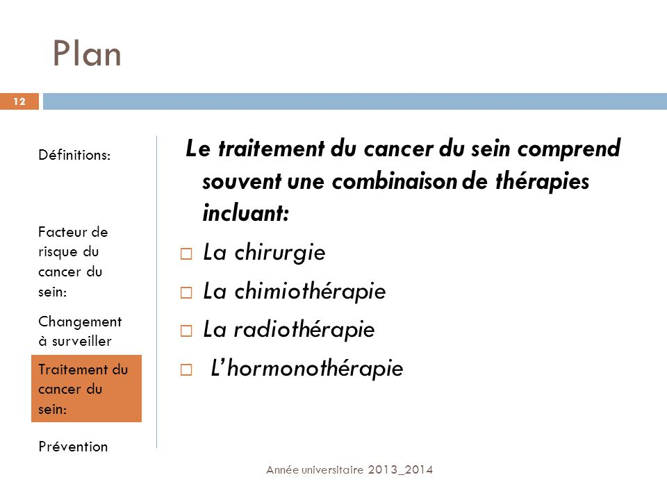 Plan Le traitement du cancer du sein comprend souvent une combinaison de thérapies incluant: La chirurgie.