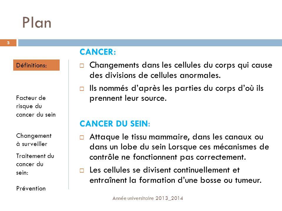 Plan CANCER: Changements dans les cellules du corps qui cause des divisions de cellules anormales.