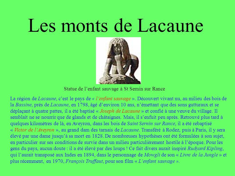 Les monts de Lacaune Statue de l'enfant sauvage à St Sernin sur Rance