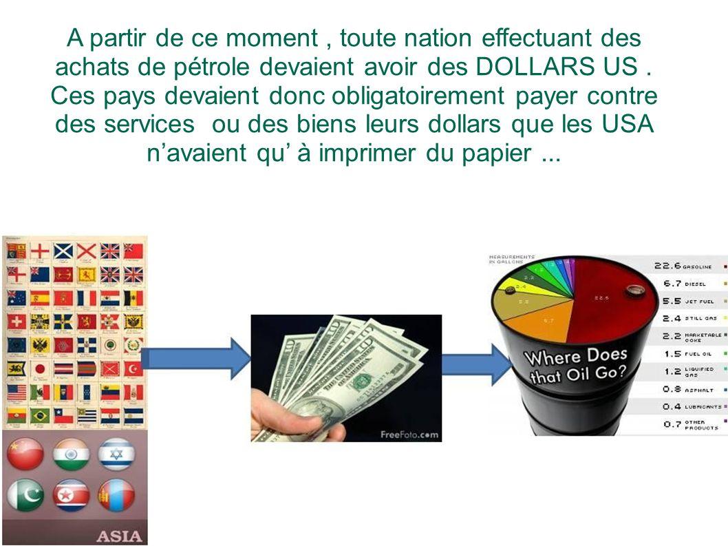 A partir de ce moment , toute nation effectuant des achats de pétrole devaient avoir des DOLLARS US .