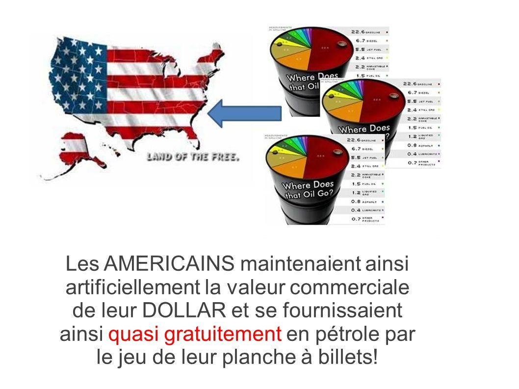 Les AMERICAINS maintenaient ainsi artificiellement la valeur commerciale de leur DOLLAR et se fournissaient ainsi quasi gratuitement en pétrole par le jeu de leur planche à billets!