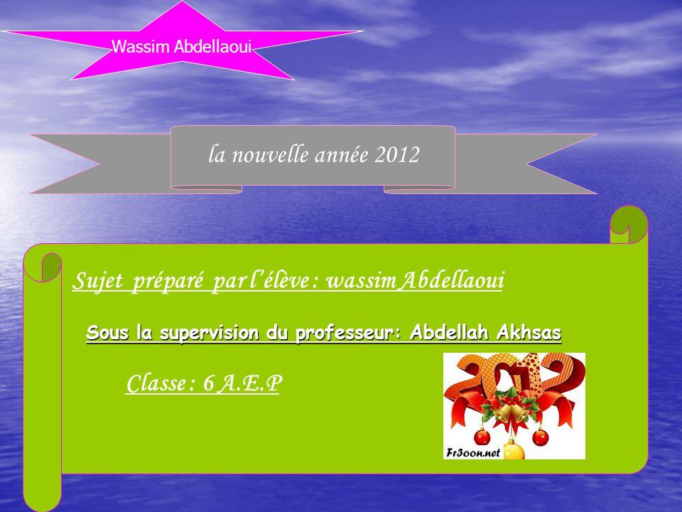 Sujet préparé par l'élève : wassim Abdellaoui Classe : 6 A.E.P