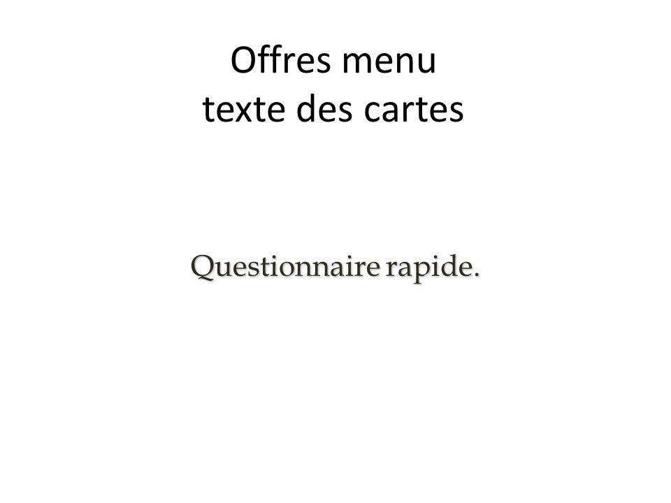 Offres menu texte des cartes