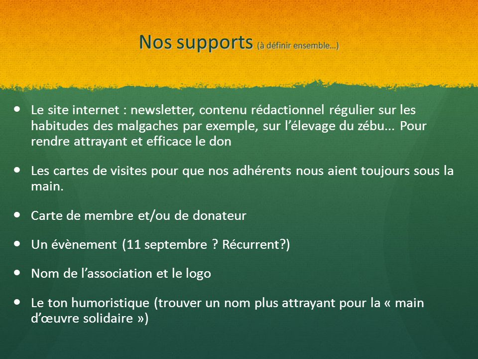 Nos supports (à définir ensemble…)