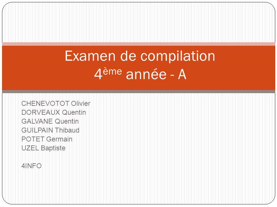 Examen de compilation 4ème année - A