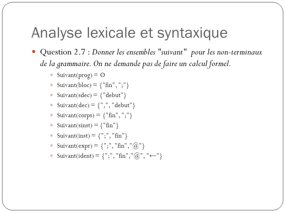 Analyse lexicale et syntaxique