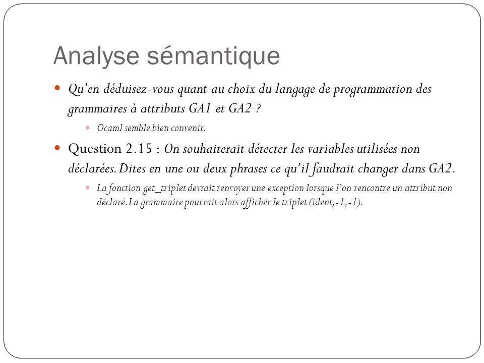 Analyse sémantique Qu'en déduisez-vous quant au choix du langage de programmation des grammaires à attributs GA1 et GA2