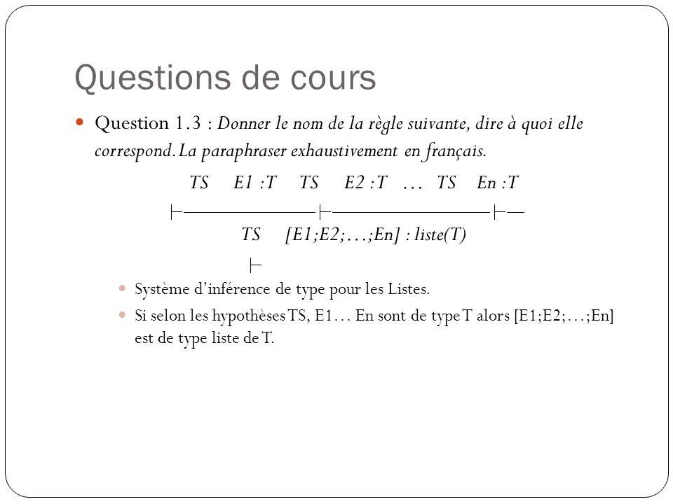 Questions de cours Question 1.3 : Donner le nom de la règle suivante, dire à quoi elle correspond. La paraphraser exhaustivement en français.